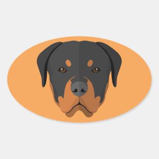 Adorable Rottweiler Cartoon Oval Sticker