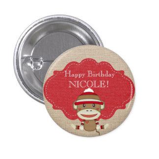 Adorable Rustic Custom Sock Monkey Party 3 Cm Round Badge