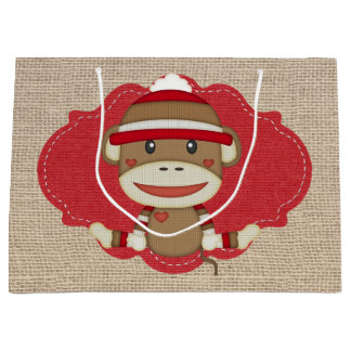 Adorable Rustic Custom Sock Monkey Party Large Gift Bag