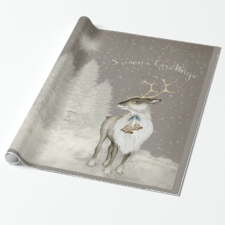 Adorable Rustic Reindeer in Winter Wrapping Paper