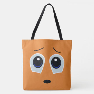 Adorable Sad Face Design Tote Bag