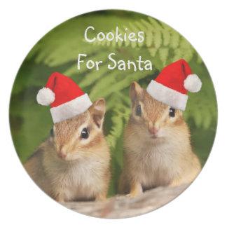 Adorable Santa Baby Chipmunks Cookies Plates