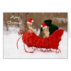 Adorable Santa Baby Chipmunks in Sleigh Card