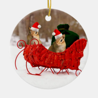Adorable Santa Baby Chipmunks in Sleigh Christmas Ornament