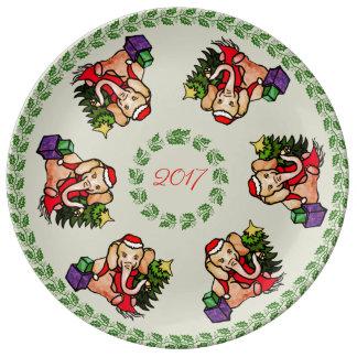 Adorable Santa Christmas Elephant Keepsake Plate