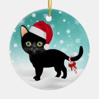Adorable Santa Hat Black Kitty in Snow Ornament