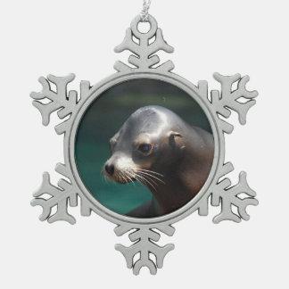Adorable Sea Lion Pewter Snowflake Decoration