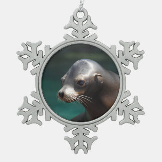 Adorable Sea Lion Snowflake Pewter Christmas Ornament