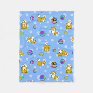 Adorable Shiba Inu and Temari Balls Fleece Blanket