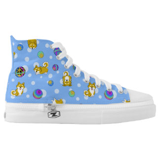 Adorable Shiba Inu and Temari Balls High Tops