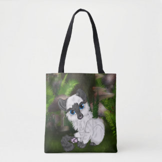 Adorable Siamese Fluffy Kitten Tote Bag