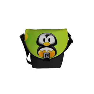 Adorable Sitting Cartoon Penguin Courier Bag