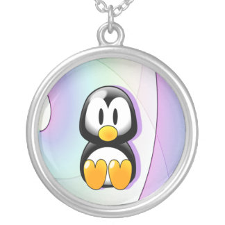 Adorable Sitting Cartoon Penguin Silver Plated Necklace