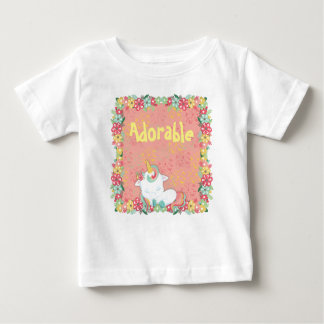 Adorable Sleeping Unicorn and Flowers Baby T-Shirt