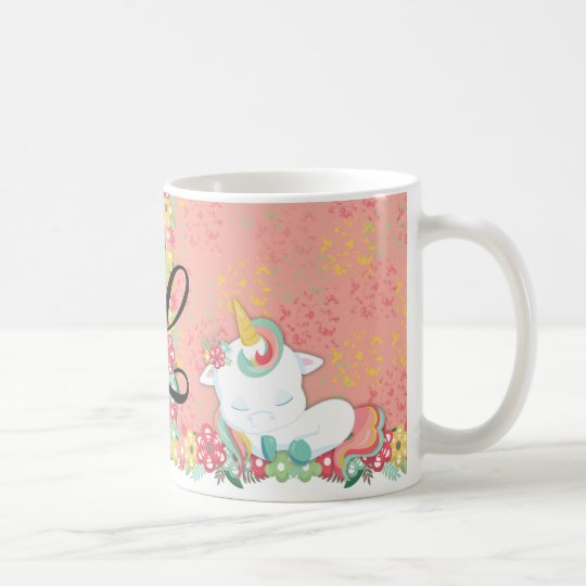 Adorable Sleeping Unicorn and Flowers Monogrammed Coffee Mug