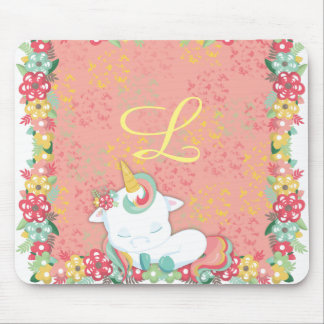 Adorable Sleeping Unicorn and Flowers Monogrammed Mouse Mat