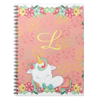 Adorable Sleeping Unicorn and Flowers Monogrammed Notebooks