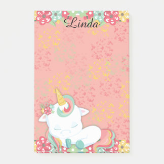 Adorable Sleeping Unicorn and Flowers Personalized Post-it Notes