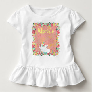 Adorable Sleeping Unicorn and Flowers Toddler T-Shirt