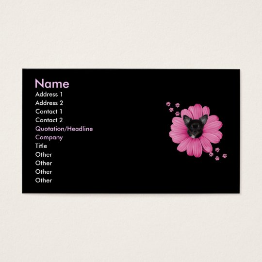 Adorable Sly Heaven Chihuahua Pink Flower Business Card