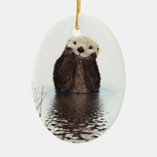 Adorable Smiling Otter in Lake Christmas Ornament