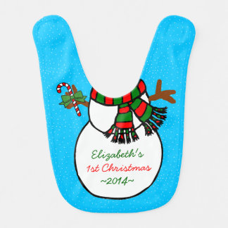 Adorable Snowman Baby's 1st Christmas Baby Bibs