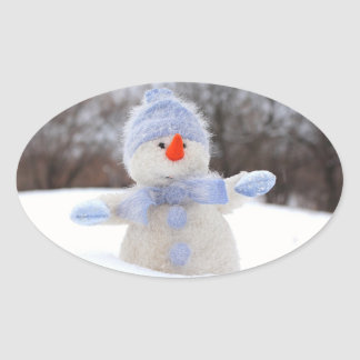 Adorable Snowman with Blue Scarf Christmas Sticker