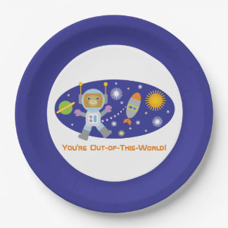 "Adorable ""Space Chimp"" Astronaut Monkey Paper Plate"
