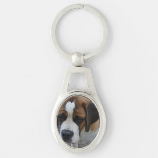 Adorable St Bernard Silver-Colored Oval Key Ring