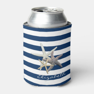 Adorable Starfish ,Navy Blue Stripes-Personalized Can Cooler