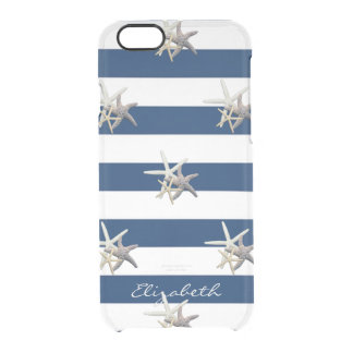 Adorable Starfish ,Navy Blue Stripes-Personalized Clear iPhone 6/6S Case