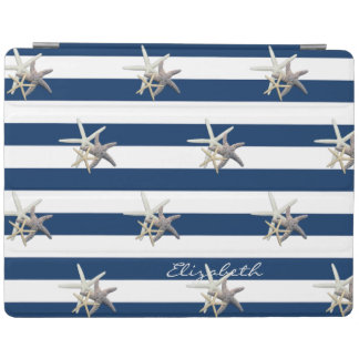 Adorable Starfish ,Navy Blue Stripes-Personalized iPad Cover