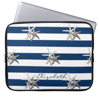 Adorable Starfish ,Navy Blue Stripes-Personalized Laptop Sleeve