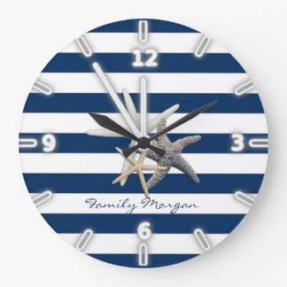 Adorable Starfish ,Navy Blue Stripes-Personalized Large Clock