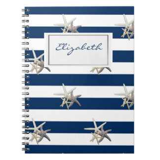 Adorable Starfish ,Navy Blue Stripes-Personalized Notebooks