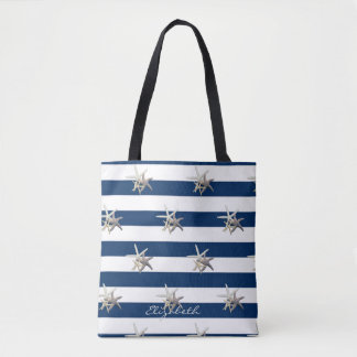Adorable Starfish ,Navy Blue Stripes-Personalized Tote Bag