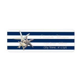 Adorable Starfish, Stripes Return Address Label