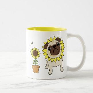 Adorable Sunflower Pug Mugs - Text optional