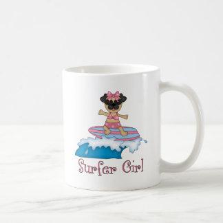 Adorable Surfer Girl Pug Gifts and Tees (Text) Basic White Mug