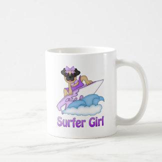 Adorable Surfer Girl Pug Gifts and Tees (Text) Coffee Mugs