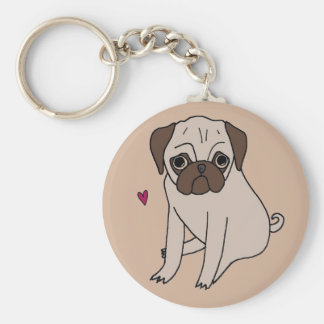 Adorable sweet little pugs basic round button key ring