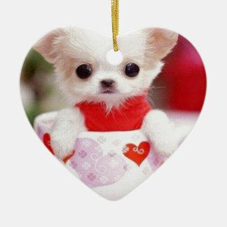 adorable teacup puppy ceramic heart decoration