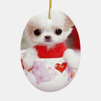 adorable teacup puppy ceramic oval decoration