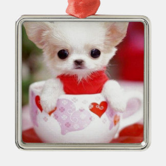 adorable teacup puppy Silver-Colored square decoration