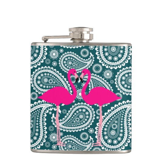 Adorable Teal Blue and White Paisley-Flamingos Hip Flask
