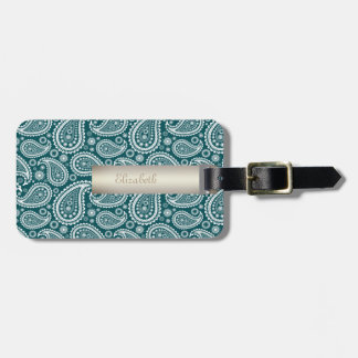 Adorable Teal Blue and White Paisley-Personalized Luggage Tag