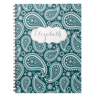 Adorable Teal Blue and White Paisley-Personalized Notebook