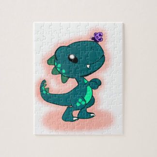 Adorable Teal T-Rex Jigsaw Puzzle