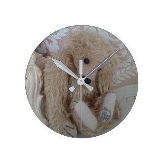 Adorable teddy bear medium round wall clock