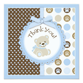 Adorable Teddy Bear Thank You Card Blue 13 Cm X 13 Cm Square Invitation Card